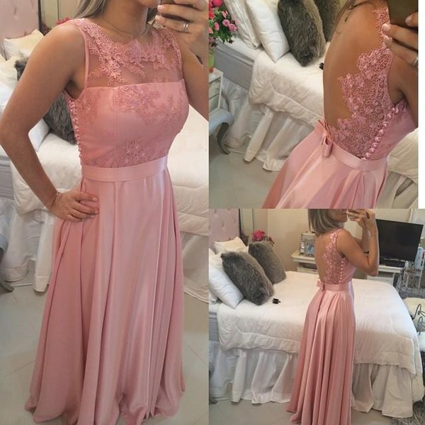 Blush Prom Dresses Long Party Evening Gowns Vintage A Line Sheer Jewel with Lace Appliques Mesh Back Bow Sash Prom Dresses