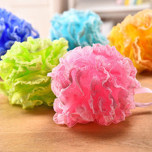 High Quality Lace Mesh Pouf Sponge Bathing Spa Handle Body Shower Scrubber Ball Colorful Bath Brushes Sponges