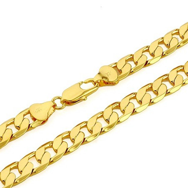 thick 18K Yellow Gold Filled Solid Cuban Curb Chain Mens Necklace 23.6 Inch 10mm