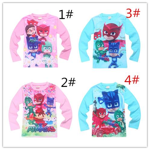 Spring / Autumn New Kids PJMS Tops Masks Boys and Girls Long Sleeved Shirts Shirt for 3-9y