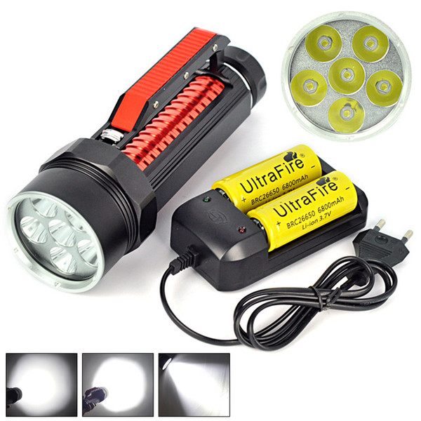 Hot 10000 Lumen 6x XM-L L2 LED Scuba Diving Flashlight 200m Waterproof Diver Torch Light 26650 Lanterna with Battery/Charger