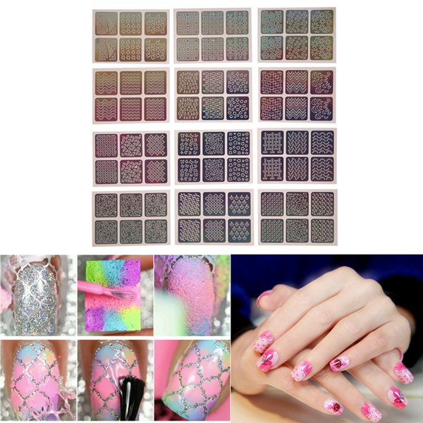 24pcs/Set Hollow Out Stencil Nail Sticker Nail Vinyls Stickers Laser Silver Irregular Stencils Stamping Guide Decals Manicure Tool