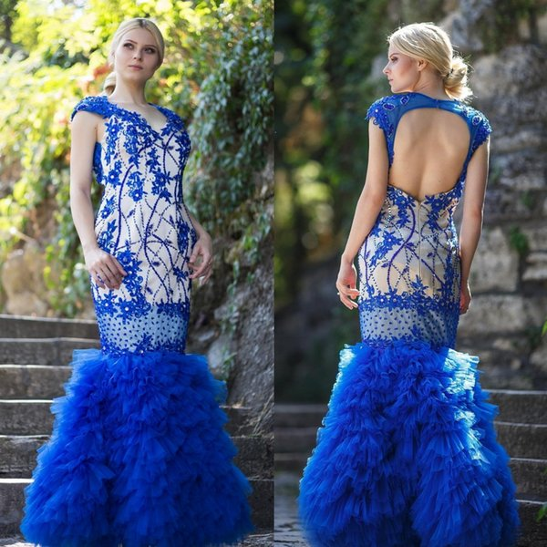 Beautiful Blue Evening Dresses Sleeves Beads Crystals Bling Bling Party Formal Gown Backless V Neck Floor Length Mermaid Prom Dress