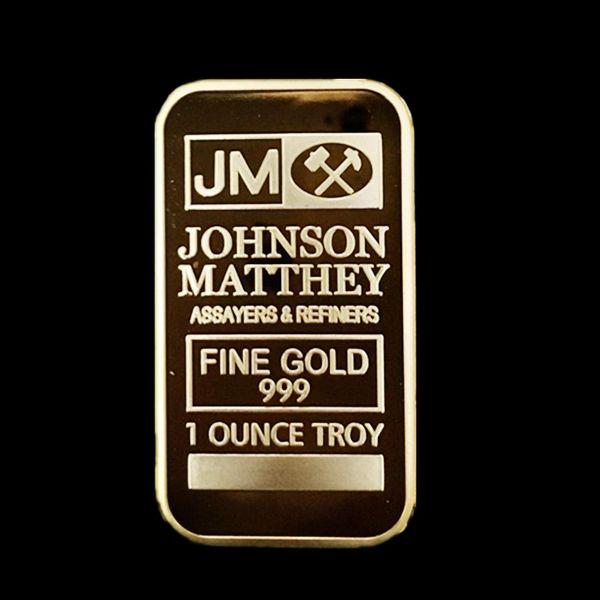 top popular 5 pcs Non magnetic America JM coin Johnson Matthey bank Morgan 50 mm x 28 mm gold plated bullion decoration bar free shipping 2019