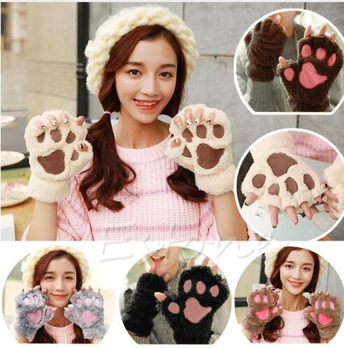 Claw Paw Plush Mittens Short Fingerless Half Finger Gloves Bear Cat Plush Paw Claw Half Finger Glove Soft Half Cover Gloves KKA2718