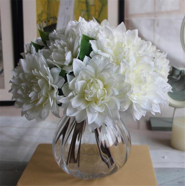 "Silk Dahlia Flower Bouquet 27cm/10.63"" Length Artificial Flowers Dahlias Peony for Wedding Bridal Bouquets 4 Colors Available"