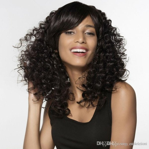 hoe selling Long Kinky Curly Human Hair Wigs For Women Side Bang Human Hair Wig For Black Women Free Shipping