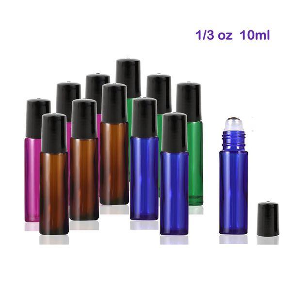 300pcs / lot 10 ml bouteilles en verre de haute qualité avec des boules à rouleaux en acier inoxydable pour les huiles essentielles