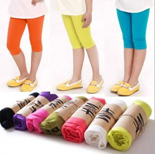Korean 13 Color Spring Summer Autumn Girls Cotton Leggings for Dress Cropped Trousers Children Girls Clothes K8026
