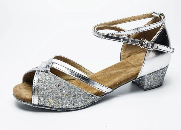 Kids Girls Latin Tango Salsa Dance Shoes Glittering PU Leather Ballroom Dancing Sandals Cutout Wedding Party Low Heels