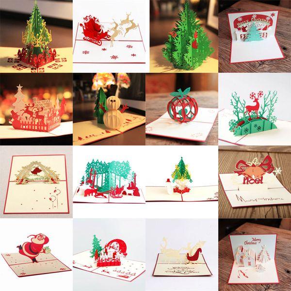 Felicitacion Navidad Personalizada Fotos.Compre 16 Estilos Lotes Tarjetas De Navidad 3d Pop Up Merry Christmas Series Tarjetas De Felicitacion Personalizadas Hechas A Mano Regalos De