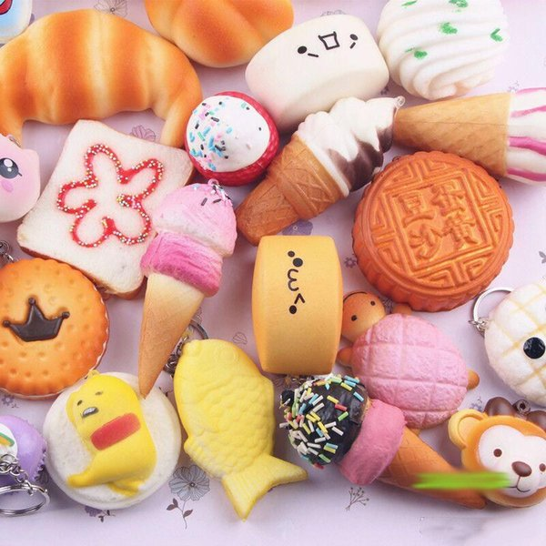 Hot Sell 10pcs/lot Slow Rising Squishy Rainbow sweetmeats ice cream cake bread squishies Strawberry Charm Phone Straps Soft Fruit Kids Toys