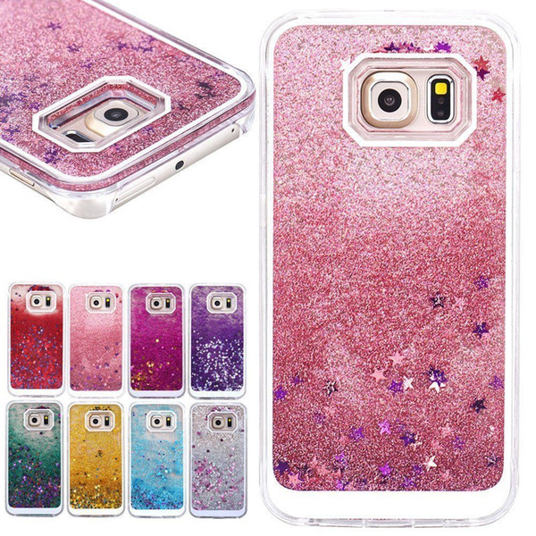 For Samsung Galaxy Note 8 7 Samsung On5 J7 S7 Edge Bling TPU Liquid Glitter Water Sparkly Floating Star Case Shiny Back Cover