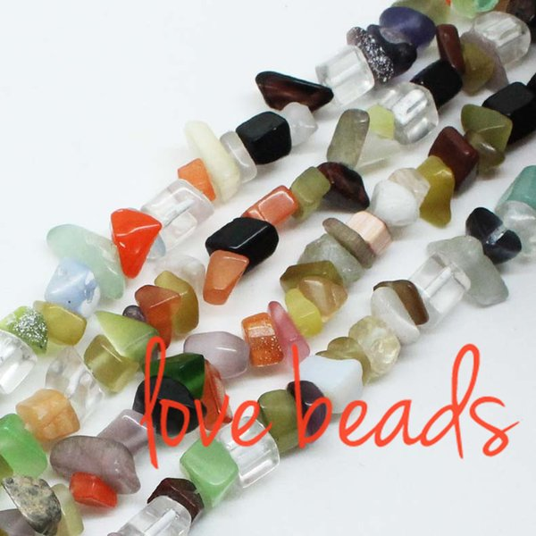 5mm-8mm Multi Colorful Glass Gravel Loose Beads Strand 80CM For wholesale (F00323) wholesale