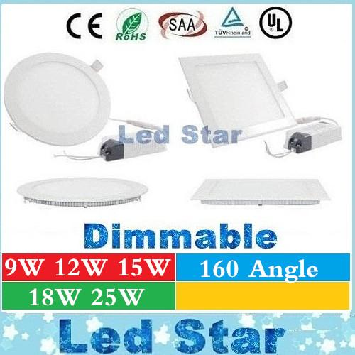 top popular Dimmable Led Down Lights Panel Lights 9W 12W 15W 18W 25W Led Recessed Lights Downlights Ceiling Lamp AC 85-265V + CE UL 2021