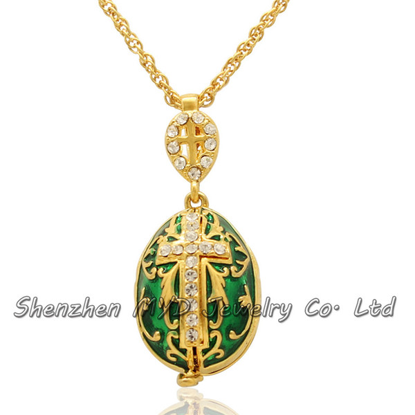 Wholesale woman color enamel Virgin Mary angels crystal Faberge egg pendant religion cross locket necklace fashion jewelry ladies