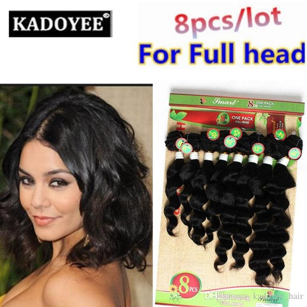 8 pcs/lot loose wave brazilian hair extensions human hair bundles ombre color black color hair extensions free shipping for full head US UK