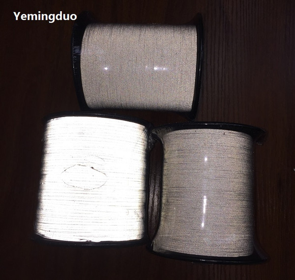 top popular 0.5mm,1.0mm,2.0mm high visibility reflective thread high light brightness one side  two- side reflective effection Reflective Sewing Notions 2021