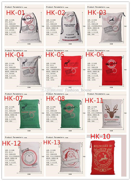 best selling 2016 Christmas Large Canvas Monogrammable Santa Claus Drawstring Bag With Reindeers Monogramable Christmas Gifts Sack Bags