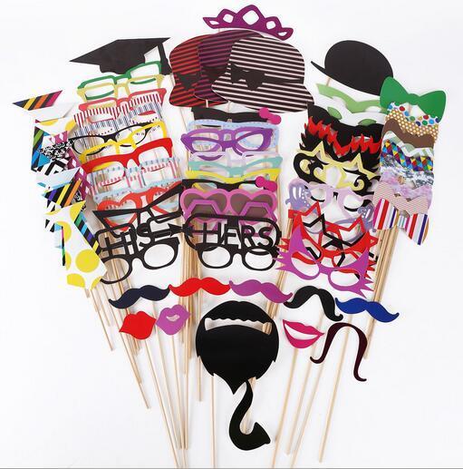 Foto Requisiten 76 Teile / satz DIY Photo Booth Props Hochzeit Souvenirs Schnurrbart Lippen Decor Party Supplies