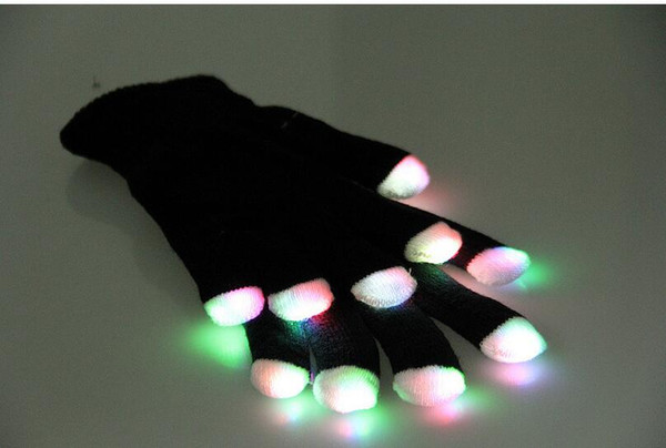 top popular Novelty LED Flashing Gloves Colorful Finger Light Glove Christmas Halloween Party Decorations glowing glove party rave prop wholesale 2021