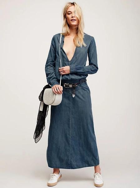 2017 Spring Autumn Women Fashion Denim Long Coat Dresses Ladies Sexy Slim V Neck One-piece Dress Girls Lovely Long Sleeve Long Denim Skirt