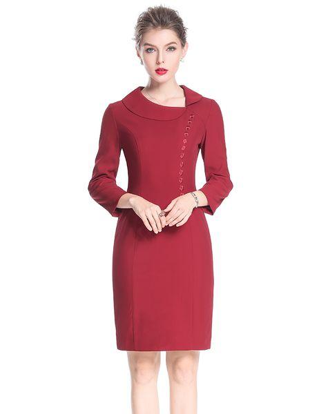Embroidery Women Sheath Dress Peter Pan Collar Elegant Long Sleeve Work Dresses 0917199