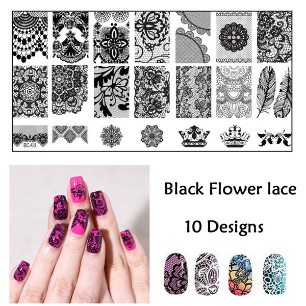 Wholesale- New Black Flower Lace 10PCS/LOT 6*12CM Nail Stamping ...