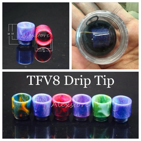 top popular 810 510 Thread Epoxy Resin Wide Bore Drip Tip Mouthpiece Vape Drip Tips for TFV8 Prince TFV8 Big Baby Atomizer 528 DHL 2021