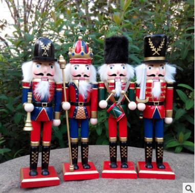 30cm wooden christmas nutcracker soldiers puppet zakka creative desktop decoration large size christmas ornaments drawing walnuts soldier - Christmas Decorations Wooden Soldiers