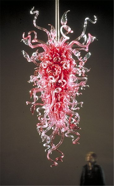 China Factory-outlet Hand Blown Glass Art and Craft Chandelier CE UL Certificate Pink Flower Shape LED Pendant Lamps