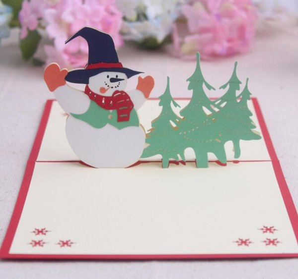 10pcs Snowman Handmade Kirigami Origami 3D Pop UP Greeting Cards Invitation Postcard For Birthday Christmas Party Gift