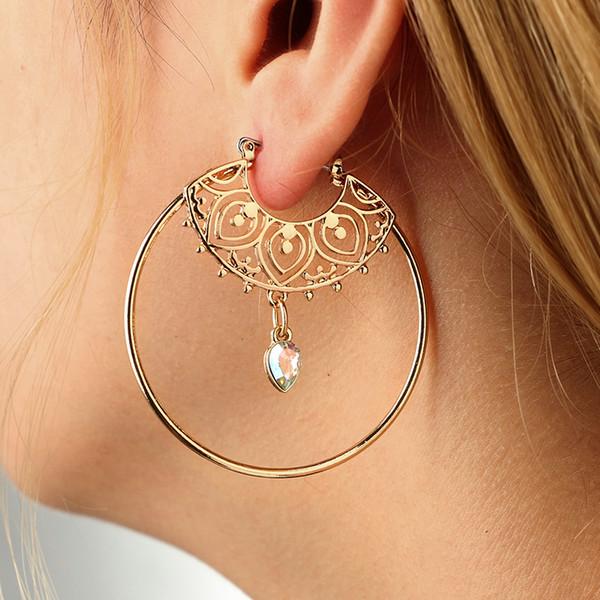 Orecchini d'epoca oro antico cerchio di cristallo intaglio cavo ciondola gli orecchini per le donne punk lega orecchini pendenti