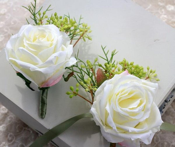 Hot Fashion White Rose Wedding Corsages Hand Flower Cheap Bouquets Wrist Flowers For Bridesmaid