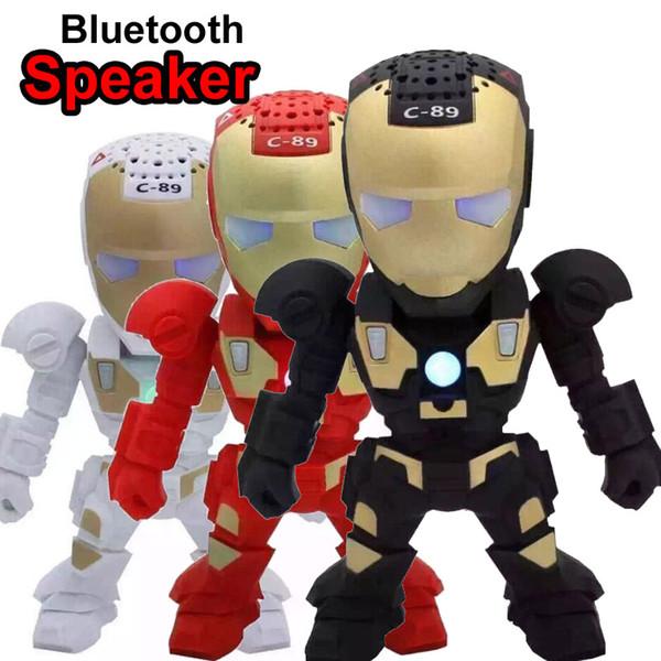 Bluetooth Mini Speaker with LED Flashing Light Robot C89 Iron Man Wireless Portable Speakers Stereo Hifi Subwoofers TF USB MP3 Music Player