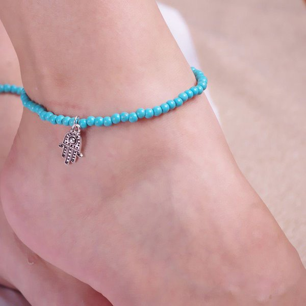top popular Women Girls Stylish Hamsa Hand of Fatima Bead Jewelry Ankle turquoise Barefoot Beach Ankle Elastic Foot Chains Anklets Bracelets Free DHL 2019