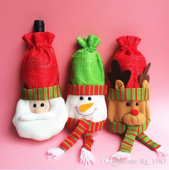 2016 Hot 3 stili di Natale Indoor Decoration Natale Cute regalo 3D Cartoon Babbo Natale Snowman Elk bottiglia di vino manica (12 pz / lotto)