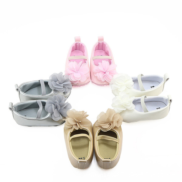 New fall flower PU leather baby shoes Newborn girl princess dress mary jane cute soft sole shoes 0-18M