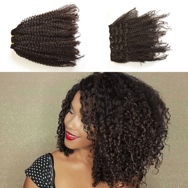 Hot African American Kinky Curly Clip In Human Hair Extensions 120G Virgin Malaysian Kinky Curly Clip Hair Extensions LaurieJ Hair