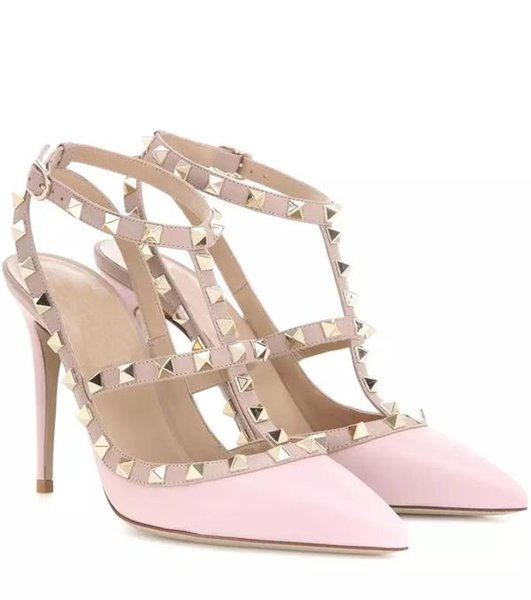 Lady Pleather Point Toe Rivets Decorated Sexy High Heels Ankle Strap Pumps Shoes for Woman, Party&wedding