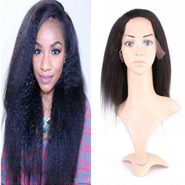 Peruvian Virgin Hair Kinky Straight Glueless Full Lace Wigs Lace Front Wig Color #1B Italian Coarse Yaki Virgin Hair Wigs For Black Women