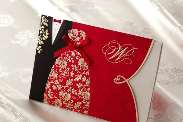 Gelin ve Damat Kırmızı Ücretsiz Kişiselleştirilmiş Özelleştirilmiş Baskı Düğün Davetiyeleri Kartları Özel Yay Ile Ücretsiz Kargo