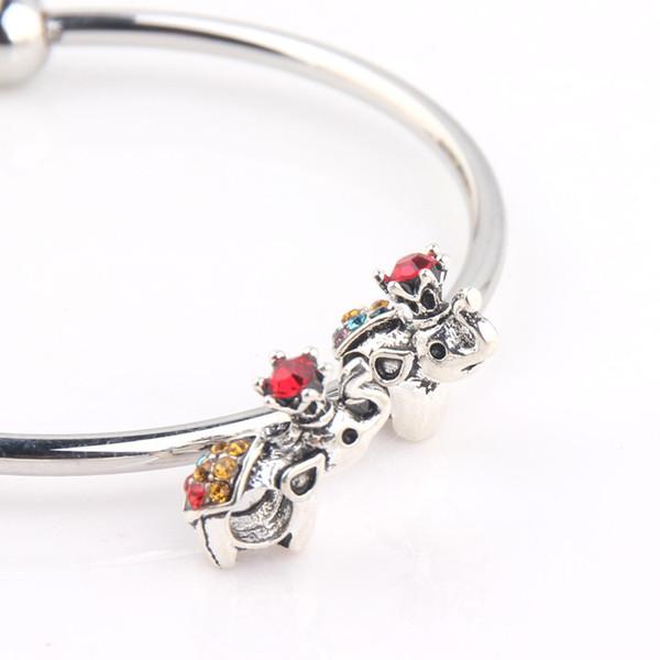 10pcs gros 5mm trou perles d'éléphant cristal charme perles convient bracelets de charme style Pandora