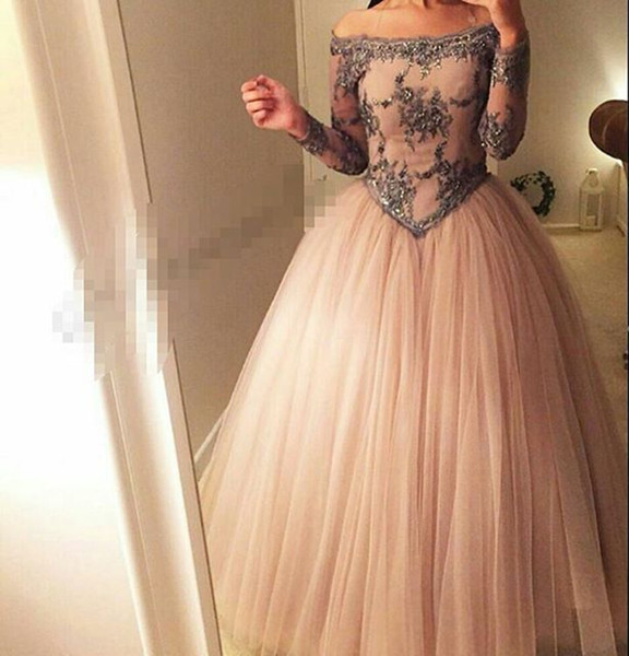 Ball Gown Prom Dresses 2016 Off the Shoulder Sheer Long Sleeves Basque Waist Floor Length Tulle Arabia Evening Dresses