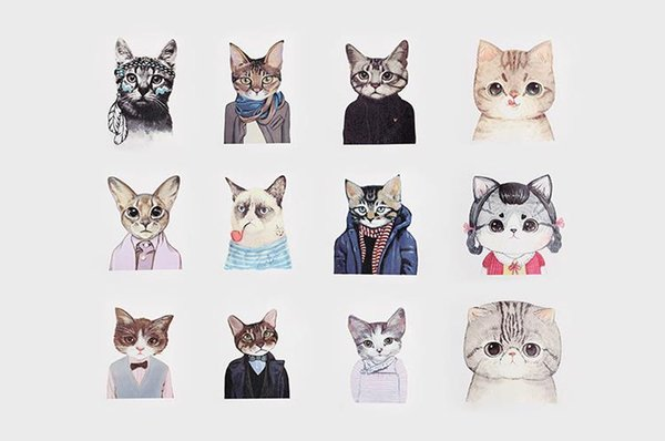 12 Styles Beautiful Cat Design Cotton Canvas Cosmetic Bags With Zipper, Empty Animal Pattern Small Gift Bag For Women 12pcs/lot