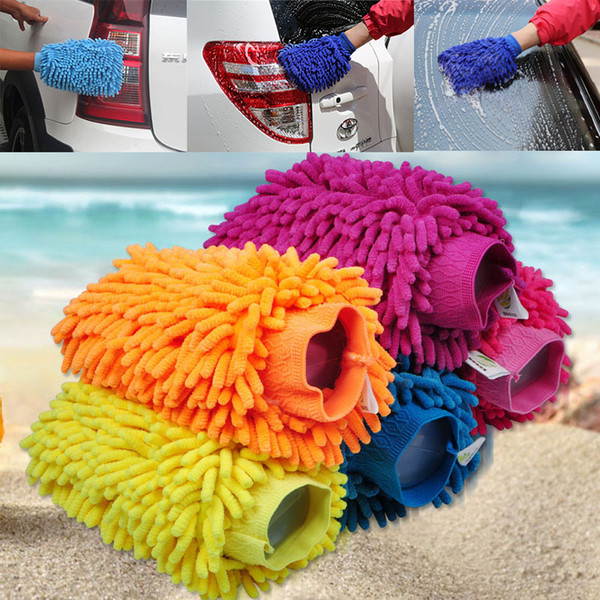 Car Hand Soft Cleaning Gloves Double-sided Thickened Chenille Coral Wash Car Gloves Car Sponge Wash Towel Tools 26*19cm XL-G276