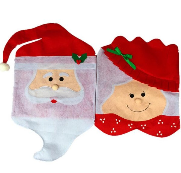 new 10pcs/lot Christmas Decoration Santa Clause snowman Chair Back Cover For Dinner Table Party Decor