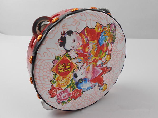 best selling Traditional Chinese pattern Children'S Hand Drum Tambourine toys Kids Musical Instruments