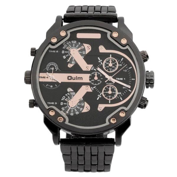Homens 2 Movimento Big Dial Aço Inoxidável Strap Sports Wrist Watch 3548 Hot! Cheap relógios a granel