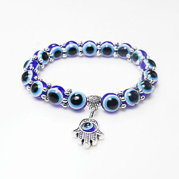 Wholesale Lucky Fatima Hamsa Hand Blue Evil Eye Charms Bracelets & Bangles Beads Turkish Pulseras For Women 2018 New Jewelry D122S
